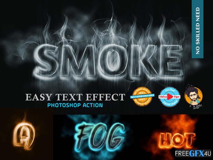 Smoke Text Effect Plugin Photoshop Action
