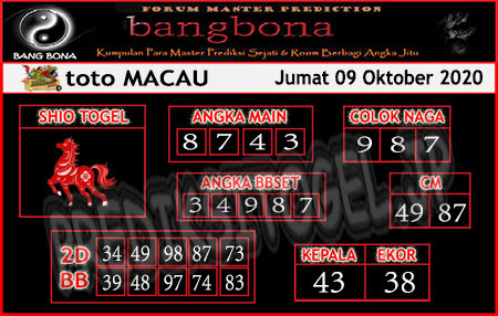 Prediksi Bangbona Toto Macau Jumat 09 Oktober 2020