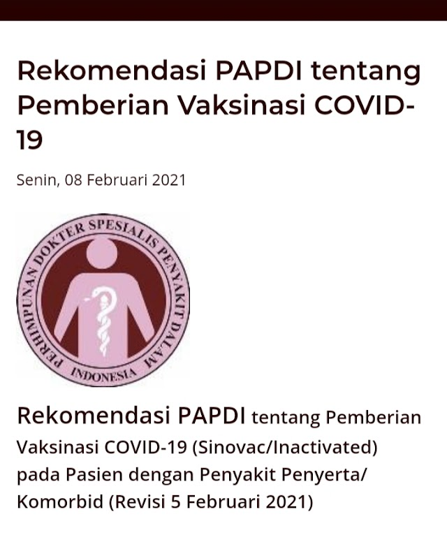 Rekomendasi PAPDI dan PERKI Terkait Vaksinasi Covid-19