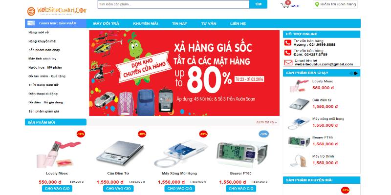 Mẫu website bán hàng free