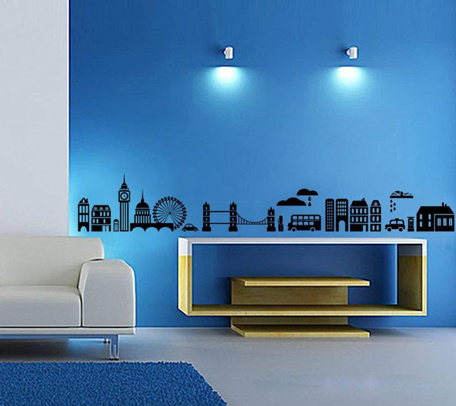 Decals Design 'Modern Town Silhouettes' Wall Sticker (PVC Vinyl, 70 cm x 50 cm, Black)