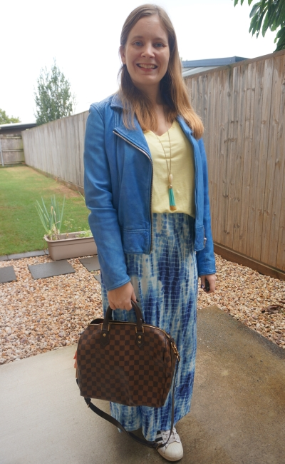 blue and yellow outfit with tie dye maxi skirt, speedy bandouliere, yellow tee | awayfromblue