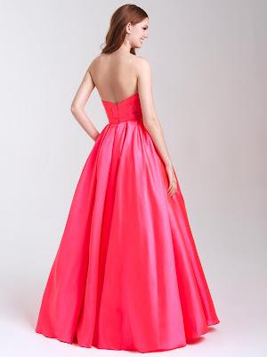 Strapless Prom Dresses madison James Pink Color Back side