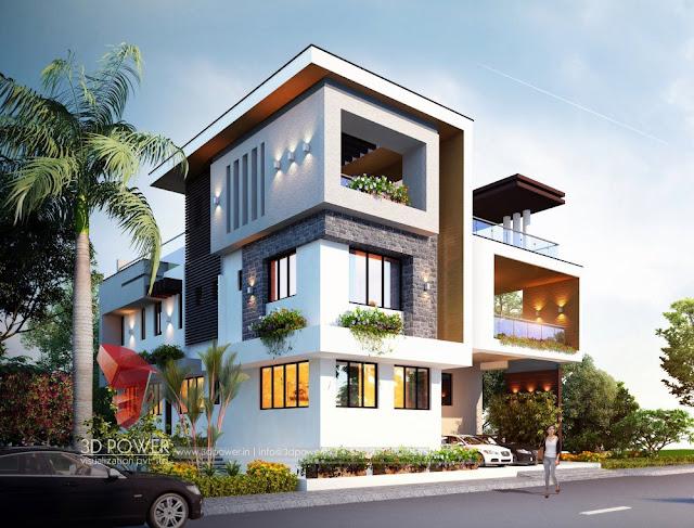 Best Exterior Design Rendering Along with 3D Front Elevation