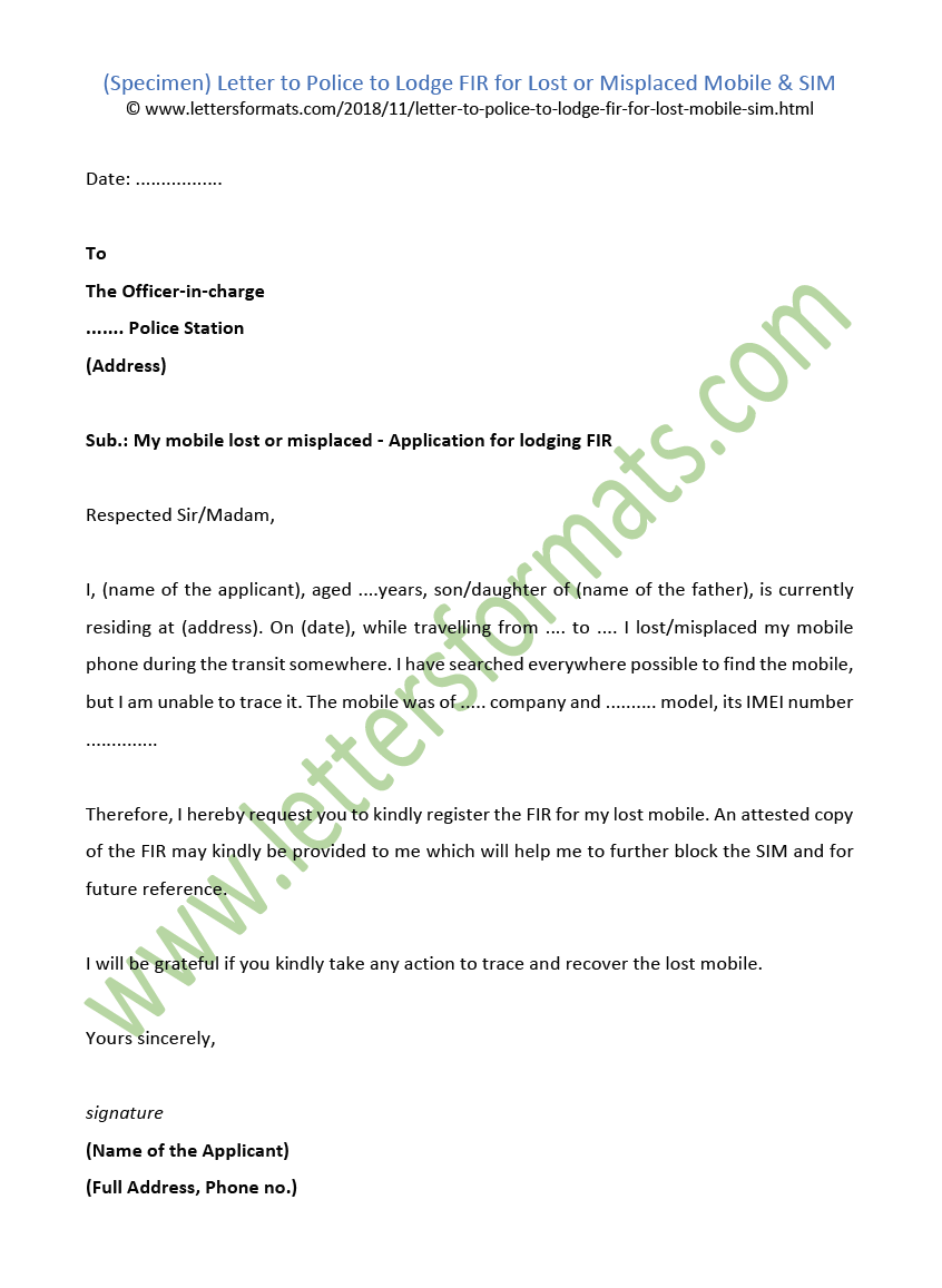 letter to police to lodge fir for loststolen mobile sim sample