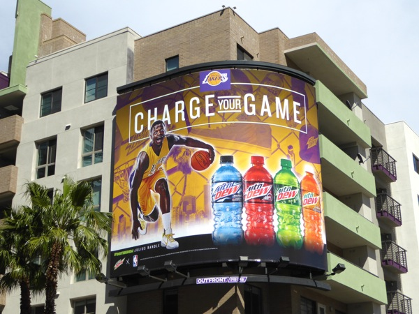 Mountain Dew Charge your game Lakers billboard