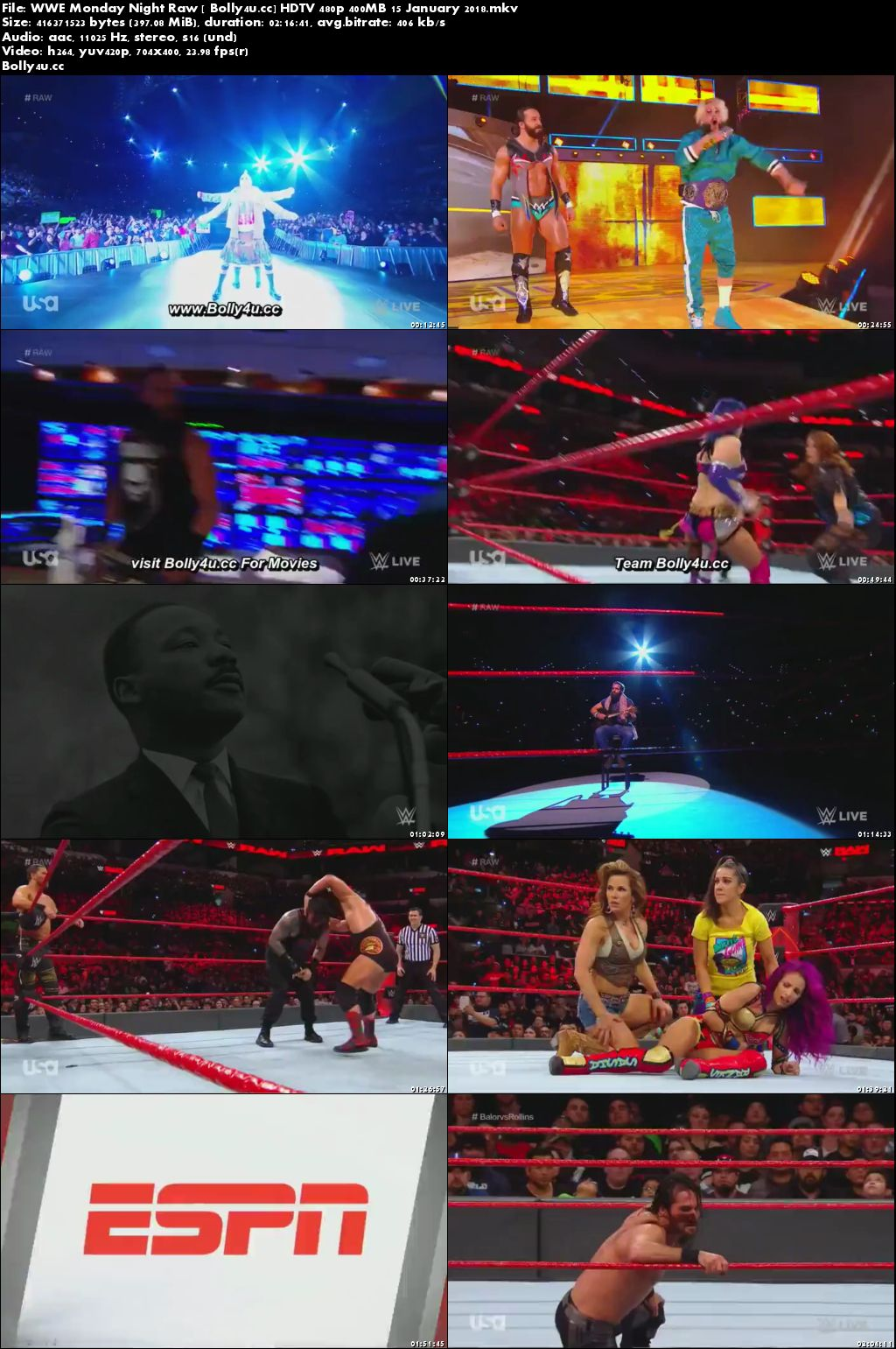WWE Monday Night Raw HDTV 480p 400MB 15 January 2018 Download