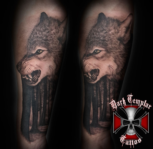 Wolf & Forest Tattoo