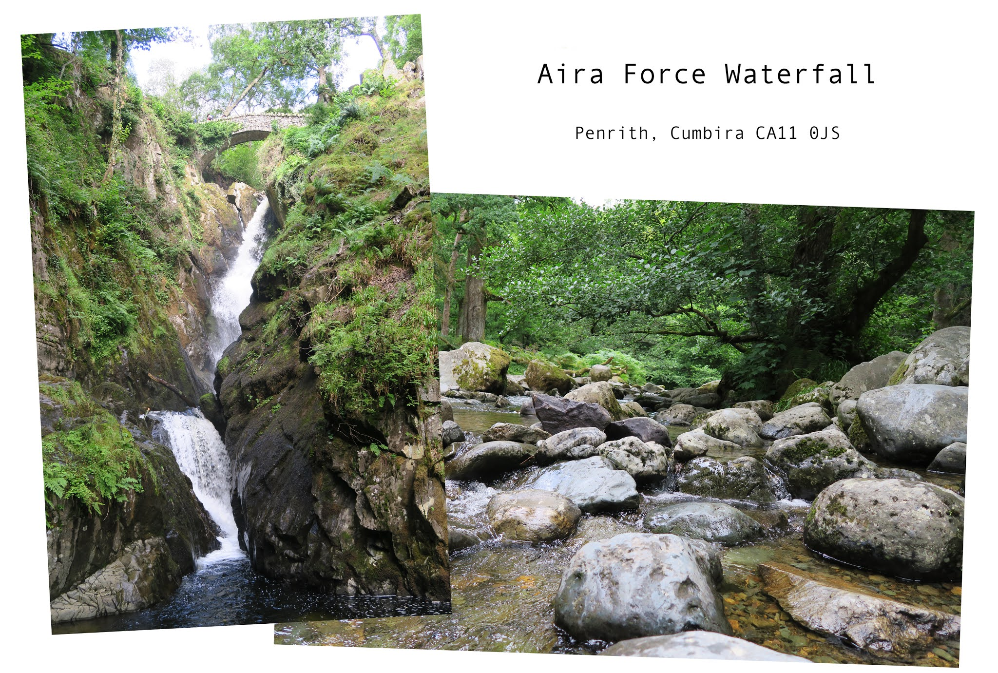 two images. the first is of a tall waterfall. the second is of a wide bubbling stream
