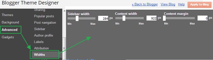구글 블로거 사용법: 새로운 반응형 테마 헤더 본문 사이드바 너비 조절하는 방법