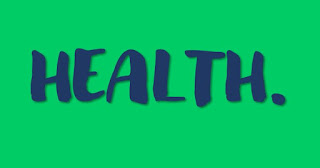 The word health in blue block letters on a green background