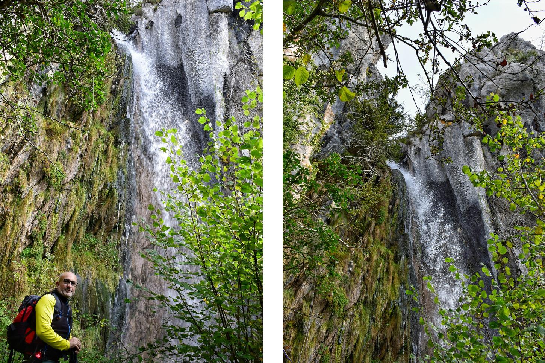 en lo alto de la cascada