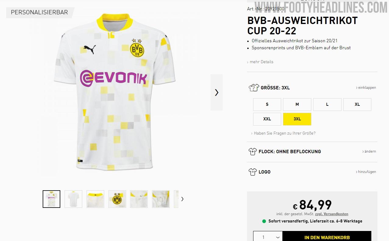Borussia Dortmund 20-22 Cup Away Kit Released - Footy Headlines