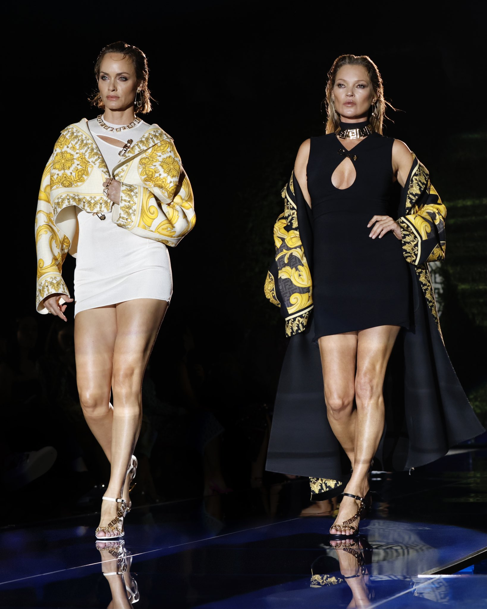 Kate Moss and Amber Valetta model looks from the Versace by Fendi collection