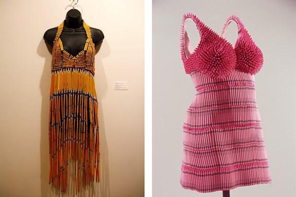 платье  из цветных карандашей