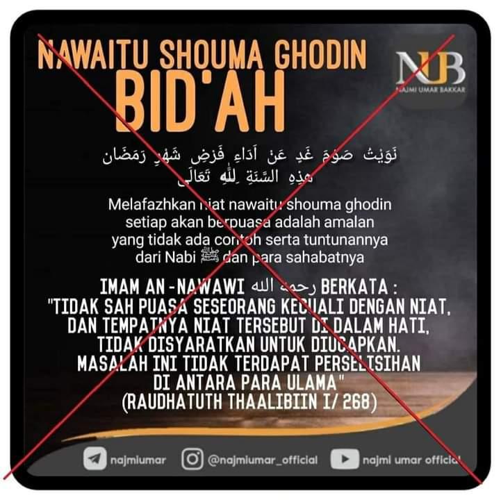 Benarkah Imam Nawawi Membidahkan Malafazkan Niat?
