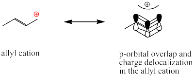 Fig. 2: Carbocation stabilization by multiple bonds adjacent to the C+ atom through  p-orbital overlap