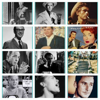 Photo Collage of 12 celebrities who died during the 1950's
