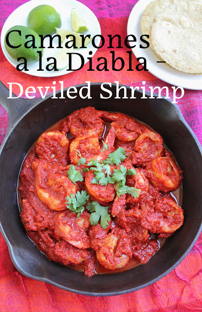 Food Lust People Love: The wonderful bright sauce for Camarones a la Diabla or Deviled Shrimp is made with dried chili peppers, roma tomatoes, garlic and onions but the star of this dish is definitely the large flavorful shrimp. Serve with fresh corn tortillas as an appetizer or with rice as a main course.