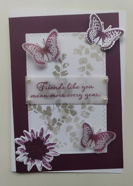 Stampin' Up Blackberry Bliss Vintage Thoughts Card