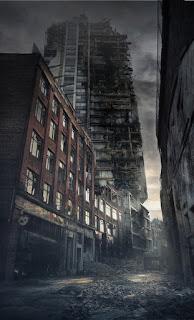Wallpaper Pemandangan malam hari di kota kosong