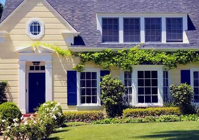 OUTSTANDING EXTERIOR HOUSE PAINT IDEAS WITH BLUE COLORS