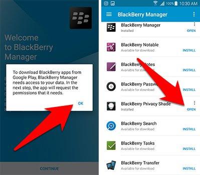 تقوم اولا بتحميل تطبيق BlackBerry Manager