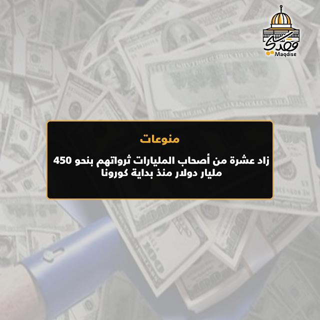 زاد عشرة من أصحاب المليارات ثرواتهم بنحو 450 مليار دولار منذ بداية كورونا