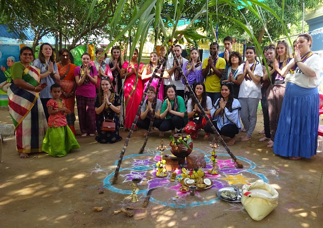 SEVAI Shanthi Higher Secondary School celebrated Pongal -2019 with customary enthusiasm with Human Trip French visitors.