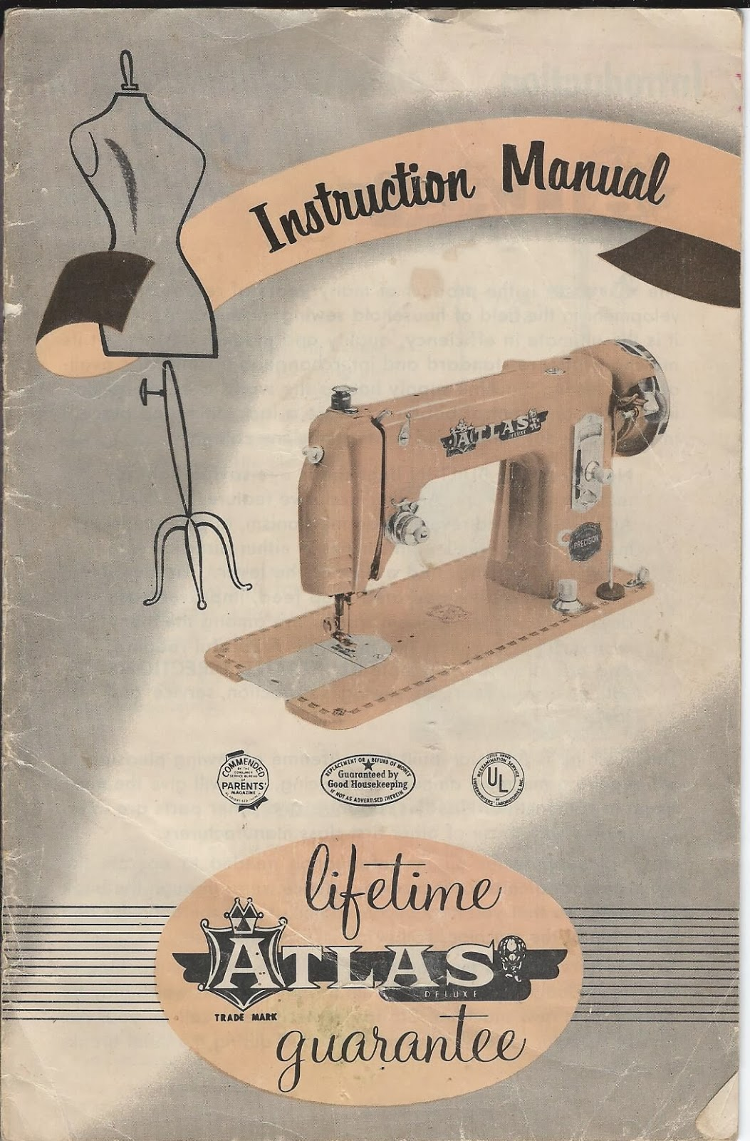 A tale of two quilters: atlas sewing machine manual.