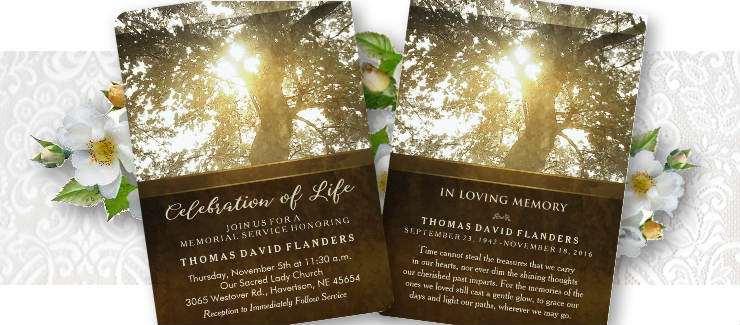 golden tree celebration of life memorial service invitation