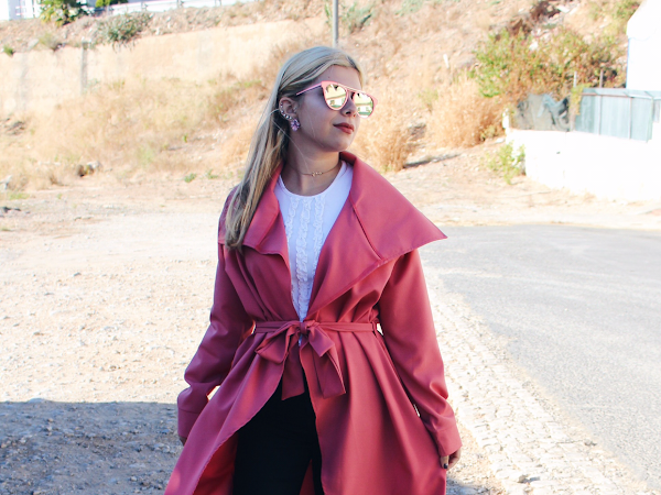Look - Pink Trench Coat & Sunglasses