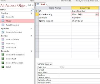 Mengubah Field  Tabel Acces