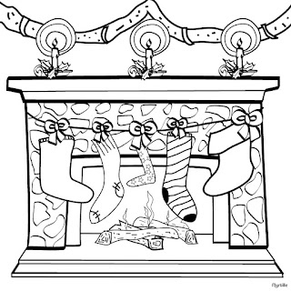 christmas fireplace santa house coloring page