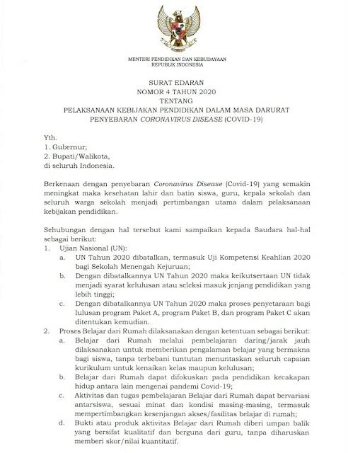 Menteri Keluarkan Surat Edaran Ujian Nasional 2020 Dibatalkan