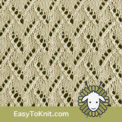 Eyelet Lace 65: Leaves of Grass | Easy to knit #knittingetitches #eyeletlace