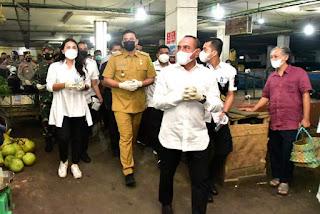 Sosialisasikan Prokes ke Pasar bersama Forkopimda, Gubernur Edy Rahmayadi Senang Lihat Warga Taati Prokes