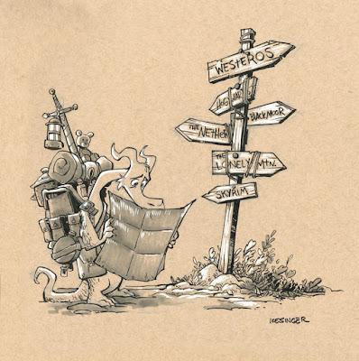 Dragón viajero en una encrucijada de mundos de fantasía