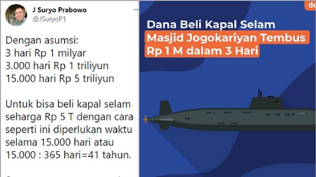JS Prabowo Sebut Patungan Kapal Selam Butuh 41 Tahun, Said Didu: Kalau Bayar Utang Negara Berapa Tahun?
