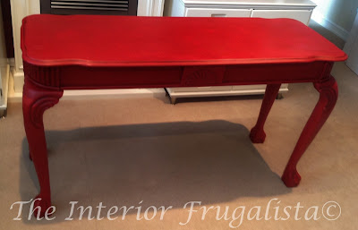 Red sofa table painted with milk paint