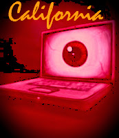 Image of laptop displaying eyeball and text California