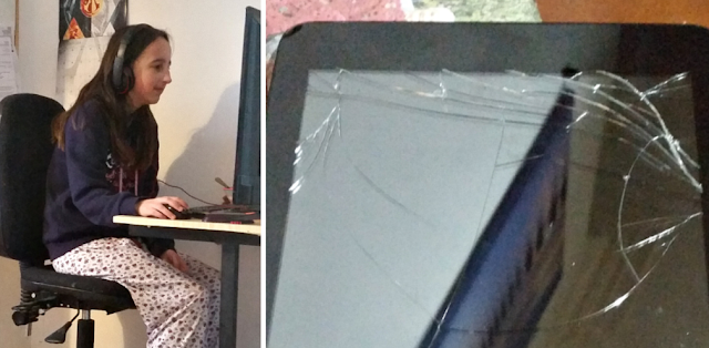 my teen on the computer and a smashed tablet screen