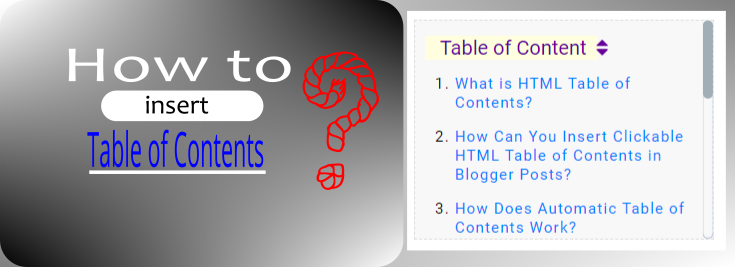 how to insert automatic html table of contents