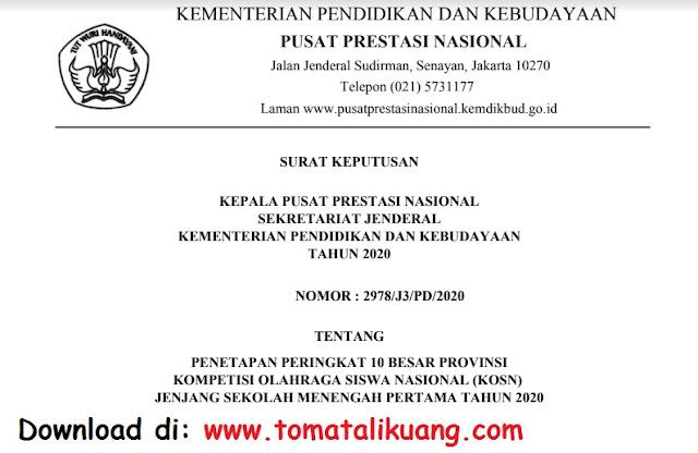 sk pemenang juara peringkat 10 besar tingkat provinsi kosn o2sn smp tahun 2020 pdf tomatalikuang.com