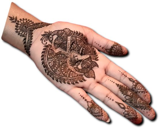 Peacock Mehndi Design for front Hand