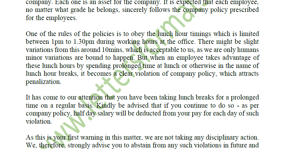 Excessive Prolonged Lunch Breaks Warning Letter To Employee