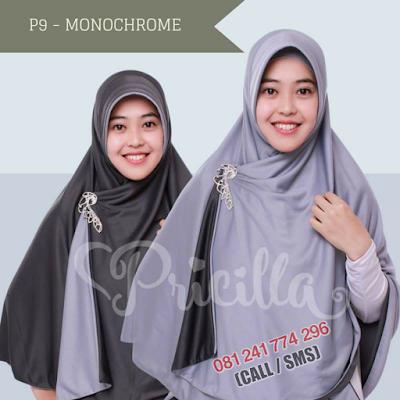 JILBAB Bolak Balik Atau Timbal Balik Original P9 - MONOCHROME