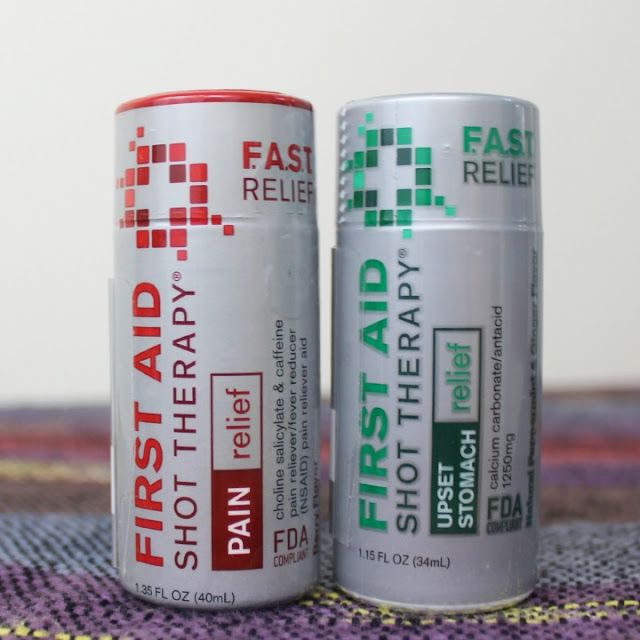 Meet First Aid Shot Therapy pain relief upset stomach