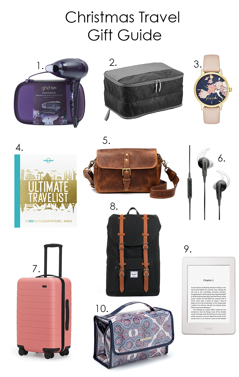 christmas travel gift guide, GHD, Kathmandu, Kate Spade, Lonely Planet, ONA, Bose, Away Luggage, Herschel Supply Co, Kindle Paperwhite, Peter Alexander
