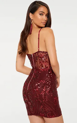Burgundy strappy sheer panel sequin bodycon prom dress back side